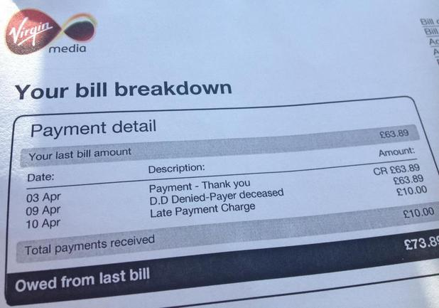Virgin Media send bill to deceased man