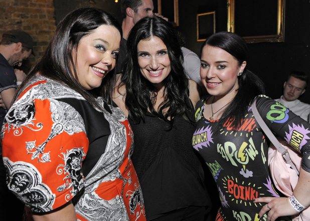 Idina Menzel with Lisa Riley and Dani Harmer.