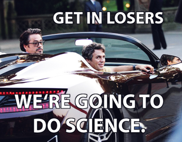 Tony Stark/Bruce Banner in 'Avengers: Science Bros' meme