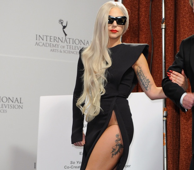 Lady GaGa, daring dress, couture Stephane Rolland gown, Emmy Awards 2011