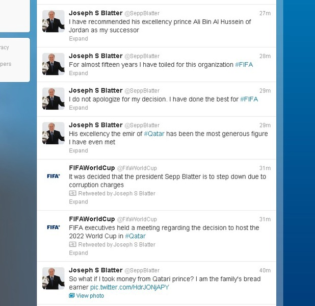 Sepp Blatter 'resigns' from FIFA: Twitter hacked