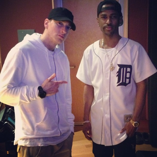 Eminem and Big Sean in the studio