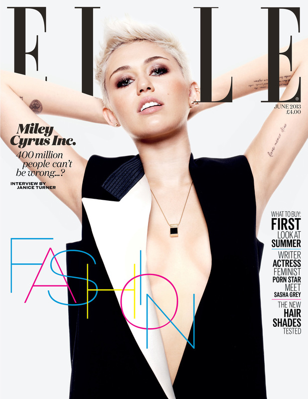 Miley Cyrus poses for Elle magazine