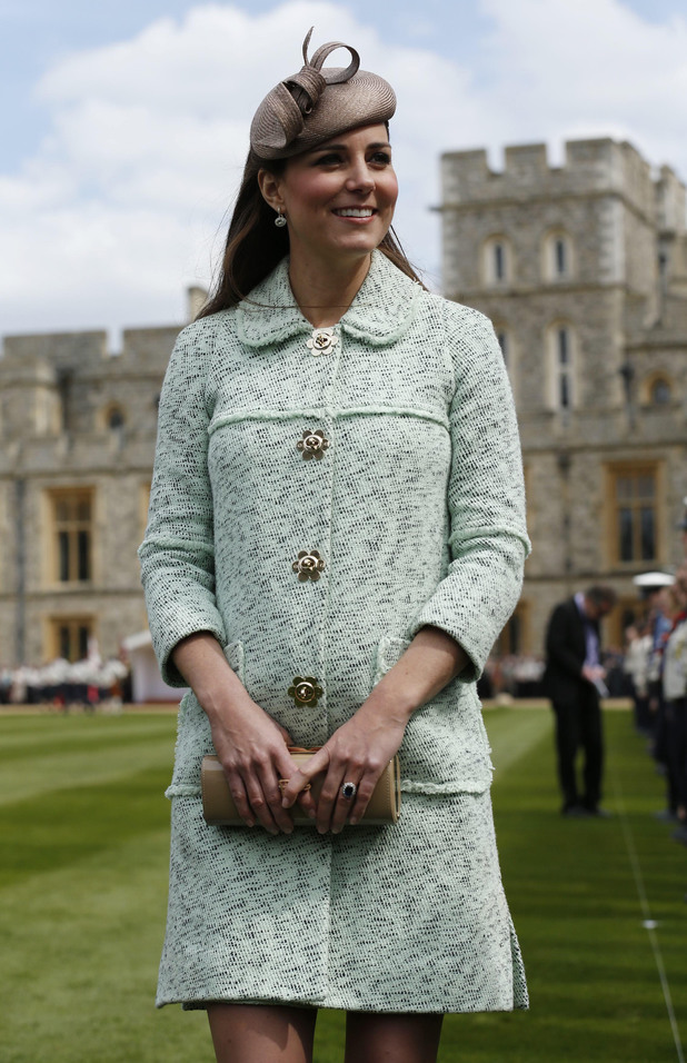 Duchess of Cambridge, Mulberry coat, National Review of Queen's Scouts