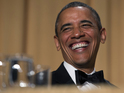 US President performs his annual comedy speech at the Correspondents' dinner.