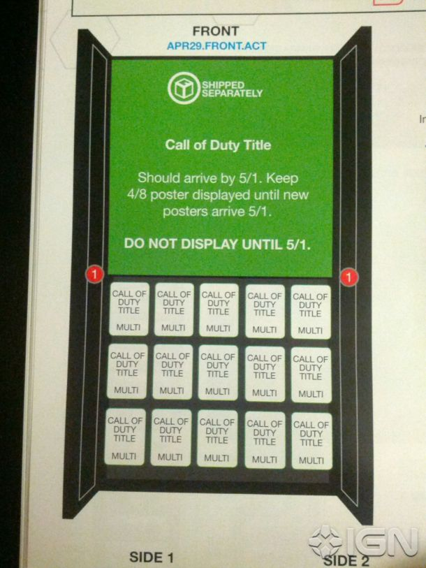 Alleged leaked display blueprint for new Call of Duty