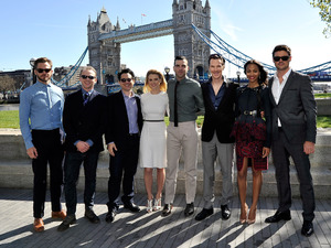 Chris Pine, Simon Pegg, J.J. Abrams, Alice Eve, Zachary Quint, Benedict Cumberbatch, Zoe Saldana and Karl Urban attend the UK Press Conference for 'Star Trek Into Darkness' at City Hall