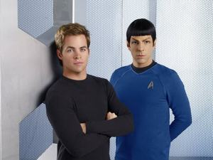 Kirk (Chris Pine) and Spock (Zachary Quinto) in &#39;Star Trek&#39; (2009)