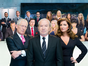 The Apprentice 2013: Lord Sugar, Nick Hewer and Karren Brady with candidates