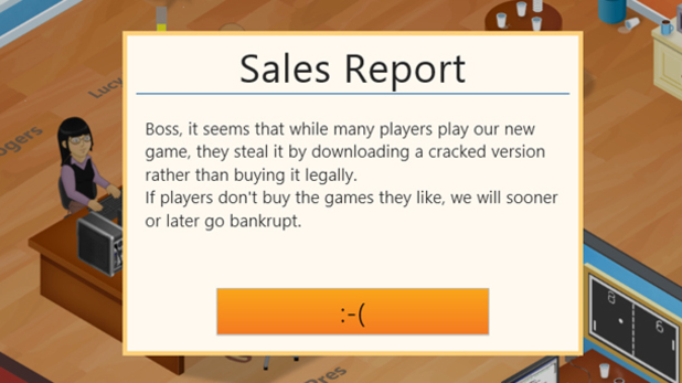A screenshot of the 'Game Dev Tycoon' private message