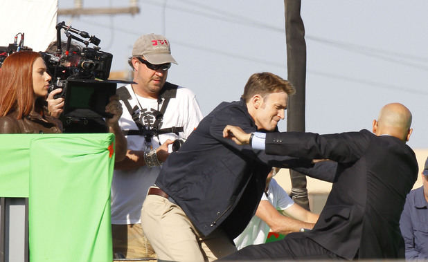 Chris Evans filming scenes