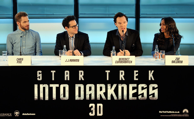 Chris Pine, J.J. Abrams, Benedict Cumberbatch and Zoe Saldana