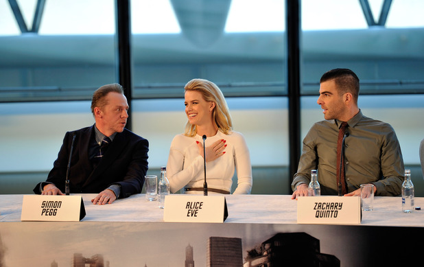 Simon Pegg, Alice Eve and Zachary Quinto