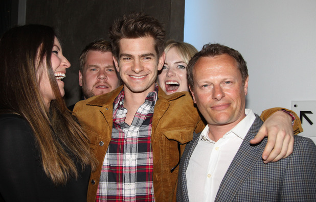 James Corden, Andrew Garfield and Emma Stone