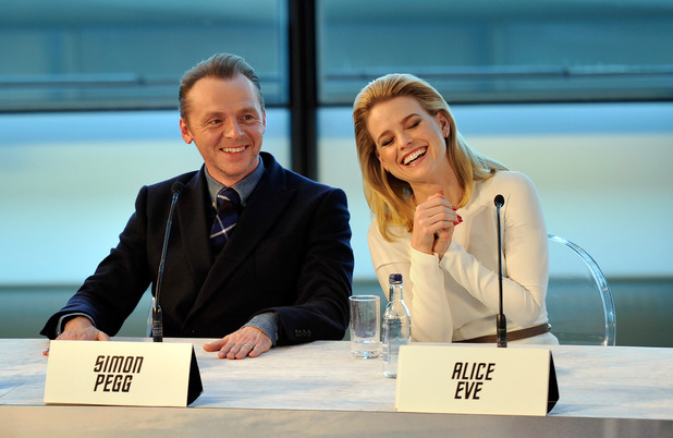 Simon Pegg and Alice Eve