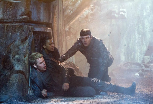 Kirk (Chris Pine), Uhura (Zoe Saldana) and Spock (Zachary Quinto) in 'Star Trek Into Darkness'