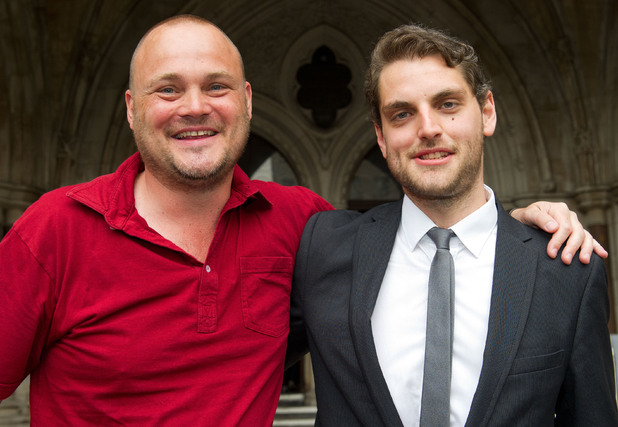 Comedian Al Murray and Paul Chambers leaving the High Court
