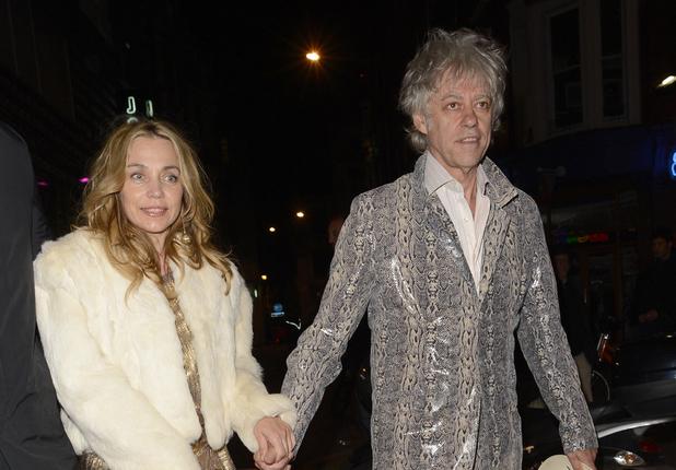 Bob Geldof,Jeanne Marine, Fran Cutler, 50th birthday, snakeskin suit