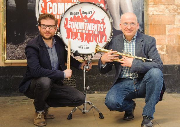 Director Jamie Lloyd and author Roddy Doyle at the Palace Theatre for the press launch of The Commitments