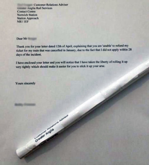 A passenger's letter to Greater Anglia.