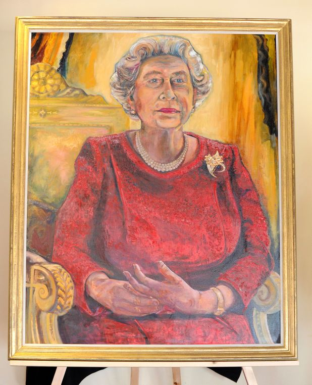 Queen Elizabeth II portrait at the Millennium Stadium