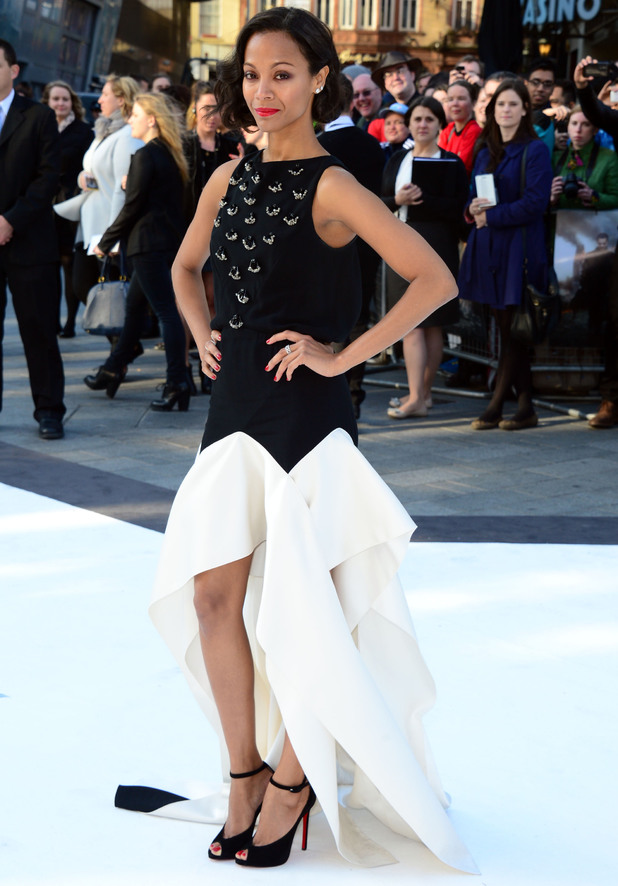 Zoe Saldana arriving for the premiere of Star Trek Into Darkness at the Empire Leicester Square, London.