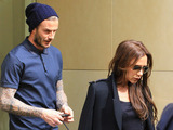 David Beckham and Victoria Beckham are seen shopping at Balenciaga in Paris.