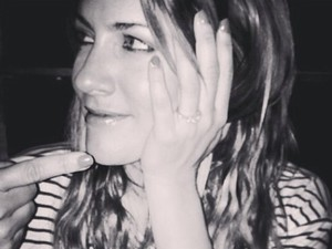 Caroline Flack with a pretend engagement ring