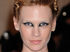 January Jones, eye make-up, met ball 2013, Costume Institute Gala Benefit celebrating the Punk: Chaos To Couture exhibition, Metropolitan Museum of Art, New York