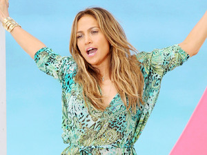 Jennifer Lopez, bikini, sheer dressing gown, music video, Miami beach, Live It Up video