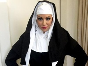 Jodie Marsh dresses as a nun