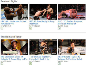 A selection of fights on the 'UFC Select' paid channel
