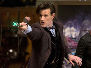 The Doctor (Matt Smith), Clara (Jenna-Louise Coleman) & Ha ha (Calvin Dean) in Doctor Who S07E07: 'Nightmare in Silver'