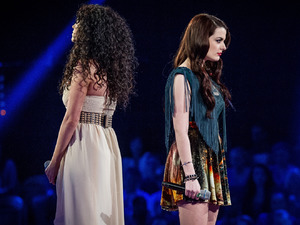 Sarah Cassidy & Katie Benbow during their battle on episode & of 'The Voice UK'