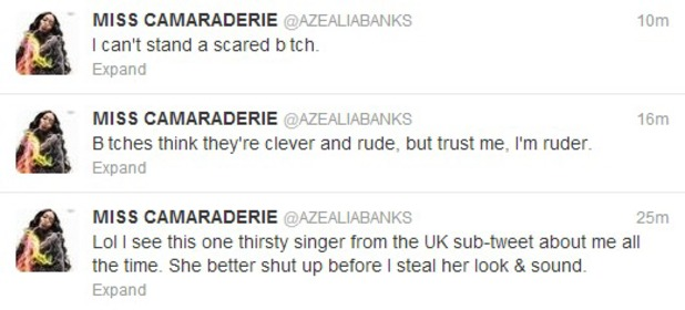 Azealia Banks tweeting about Marina Diamandis