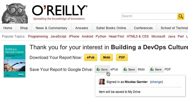 Example of 'Save to Drive' on Oreilly.com