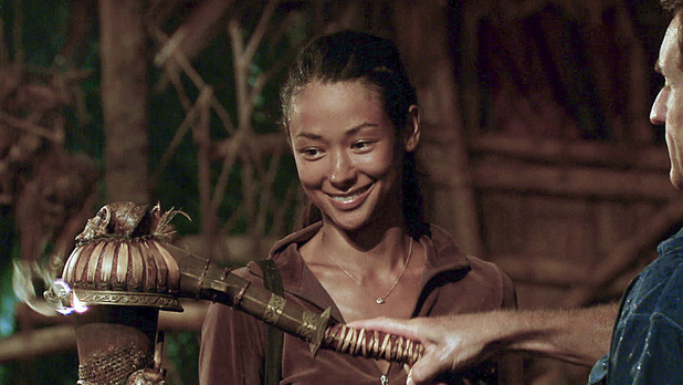 Brenda Lowe becomes the next voted out survivor as Jeff Probst extinguishes her torch at Tribal Counci during episode 13 of 'Survivor: Caramoan'