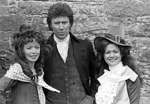 Angharad Rees, Robin Ellis and Judy Geeson during filming of 'Poldark' in Cornwall, England, Britain - 1975