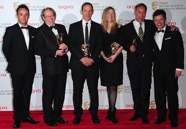 The 2013 Baftas - winners: Jon Plowman, John Morton, Catherine Gosling Fuller, Paul Schlesinger, presenters Ant and Dec, with the Situation Comedy Award for Twenty Twelve