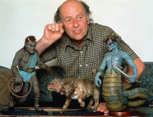 Ray Harryhausen with some of his model creations
