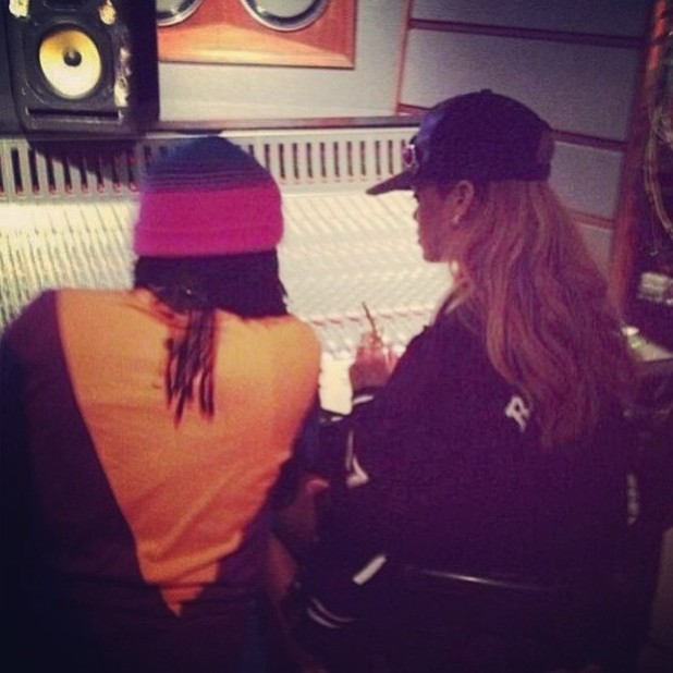 Rihanna in the studio with Wale