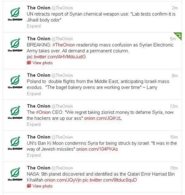 The Onion's Twitter taken over by the Syrian Electronic Army