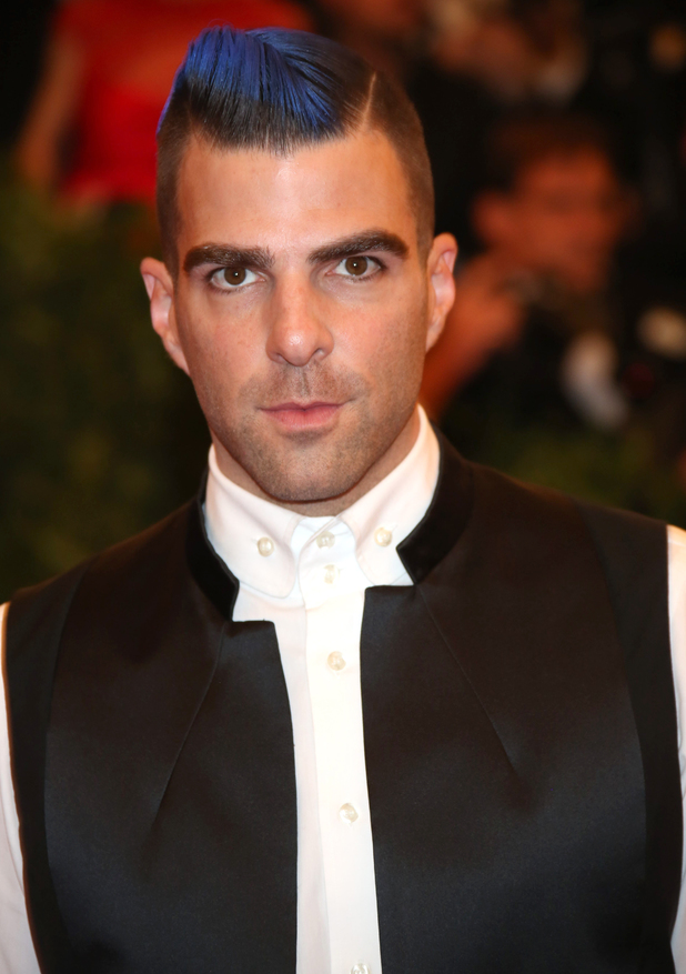 Zachary Quinto, 2013 Met Ball, Costume Institute Gala Benefit celebrating the Punk: Chaos To Couture exhibition, Metropolitan Museum of Art, New York, blue hair