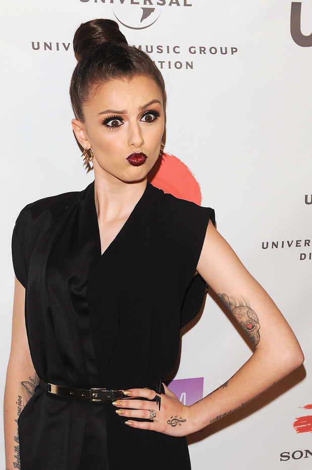 Cher Lloyd, NARM Music Biz Awards dinner party Los Angeles, bun, black tunic, leather trousers