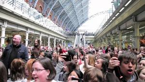 Les Misrables 'Do You Hear the People Sing' at London's St Pancras Station