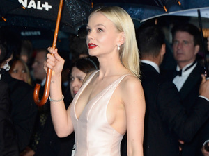 Carey Mulligan, The Great Gatsby premiere, 66th Cannes Film Festival, Christian Dior gown, umbrella, rain
