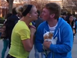 Man receives kisses for cute puppy