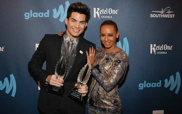 Adam Lambert & Mel B pose at the GLAAD Media Awards