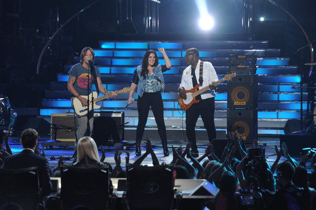 Kree Harrison with Keith Urban and Randy Jackson