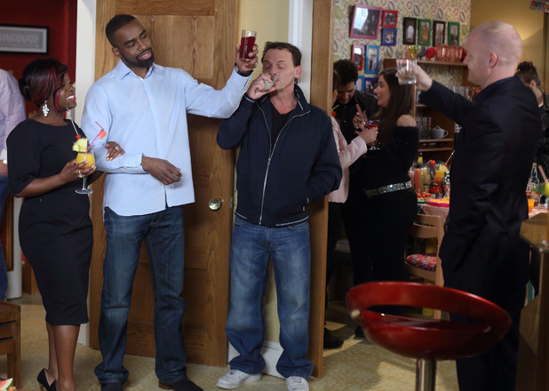 Everyone toasts to Ray's new life.